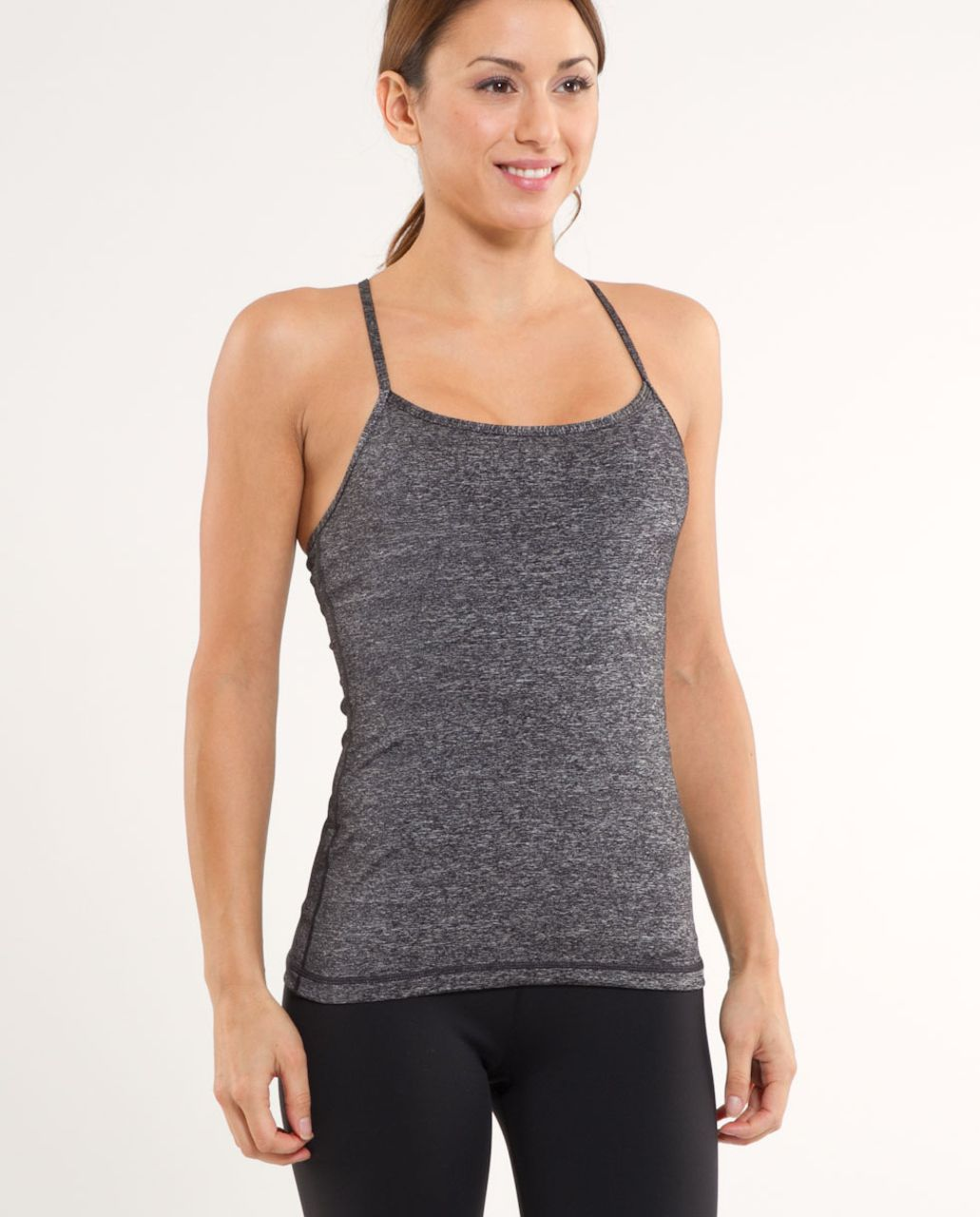 3e7777eb86e5b2 Lululemon Power Y Tank - Heathered Black   Black - lulu fanatics