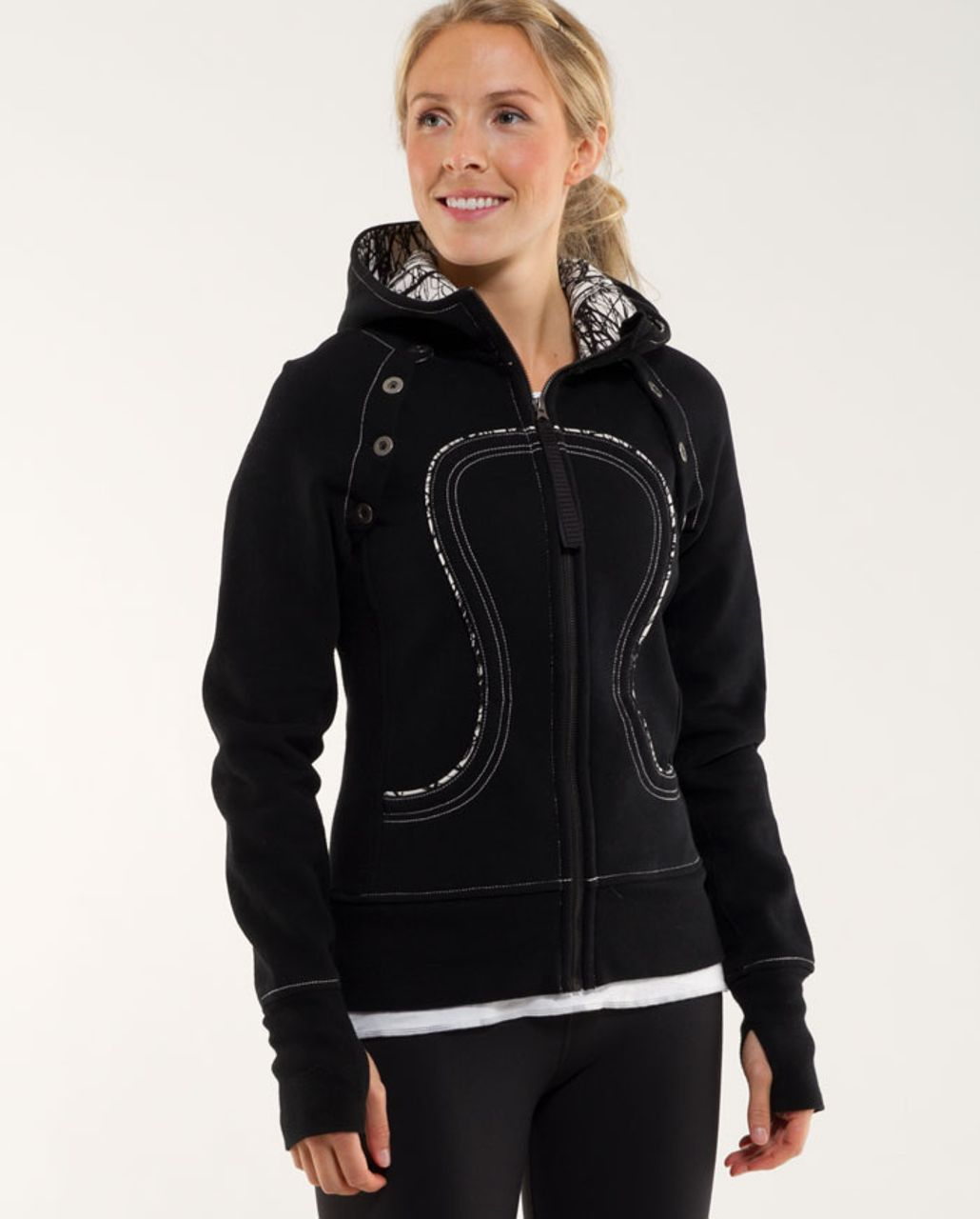 Lululemon Scuba Hoodie *Detachable Sleeves - Black /  Ghost Nesting Black Bird Print
