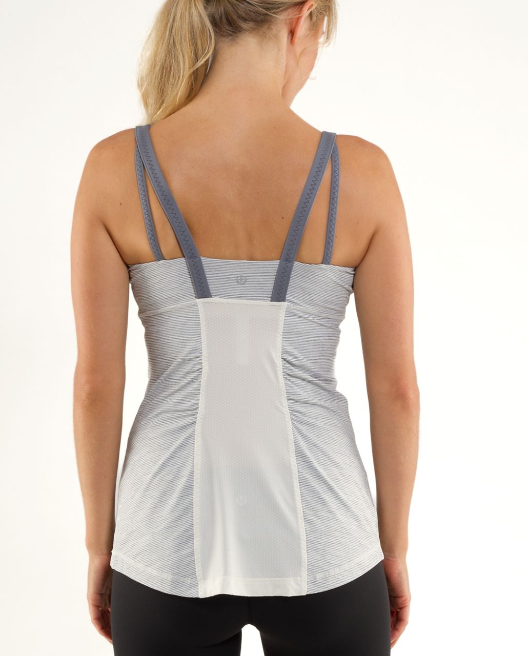 Lululemon Active Strength Tank - Ghost Blurred Grey Mini Stripe /  Coal