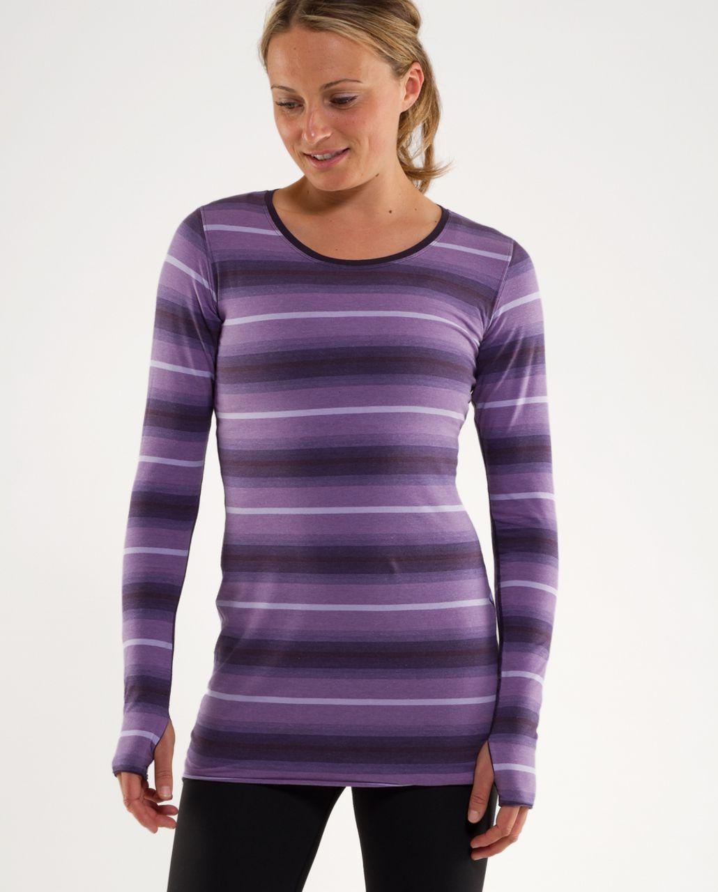 Lululemon Cabin Long Sleeve Tee II - Purples Ombre Stripes /  Black Swan
