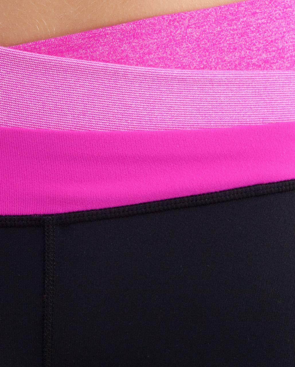 Lululemon Astro Wunder Under Crop - Black /  Heathered Paris Pink /  Paris Pink White Microstripe