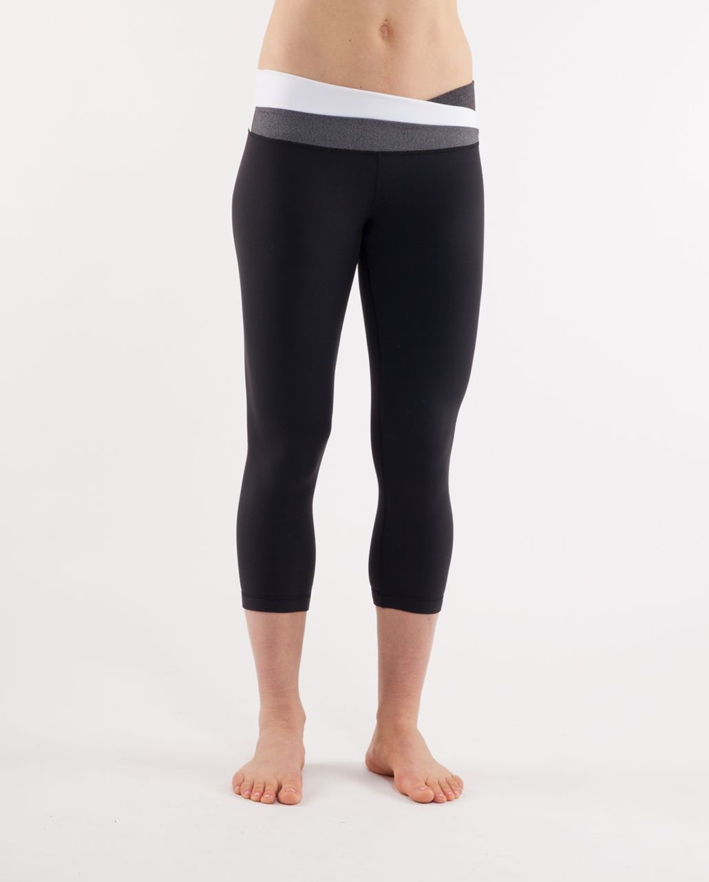 Lululemon Astro Wunder Under Crop - Black /  Heathered Black /  White