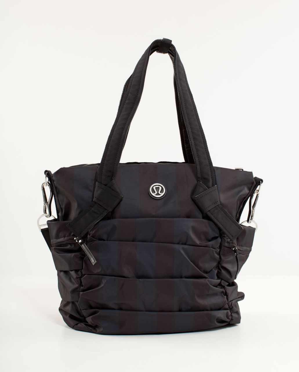 Lululemon Triumphant Tote - Deep Coal Black Wide Tonal Stripe