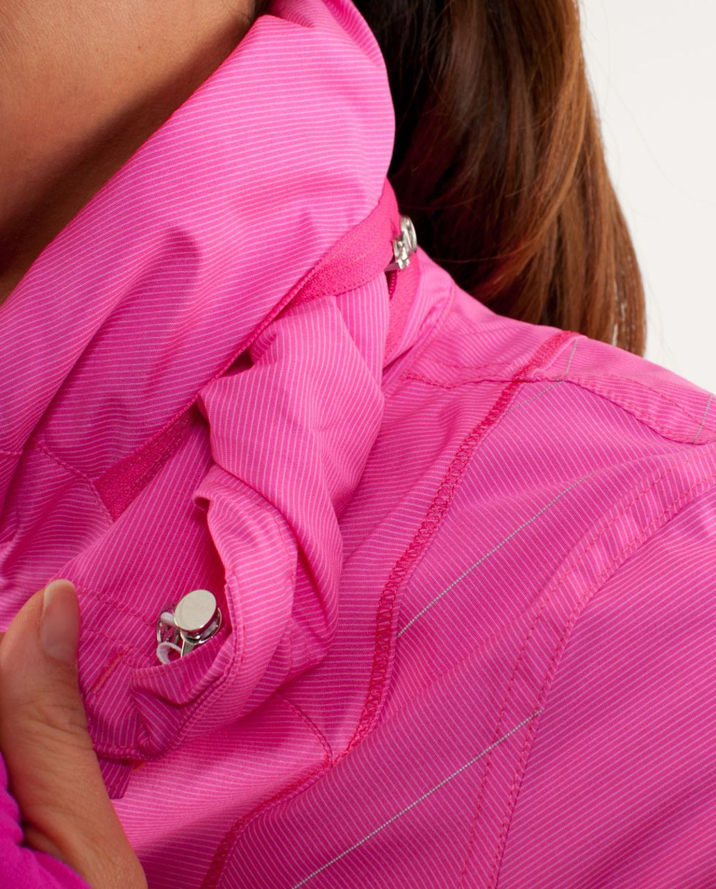 Lululemon Run:  Hustle Jacket - White Paris Pink Microstripe