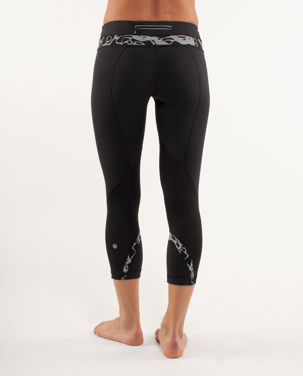 Lululemon Run:  Inspire Crop II - Black /  Reflective Sparkle Splatter /  Heathered Black