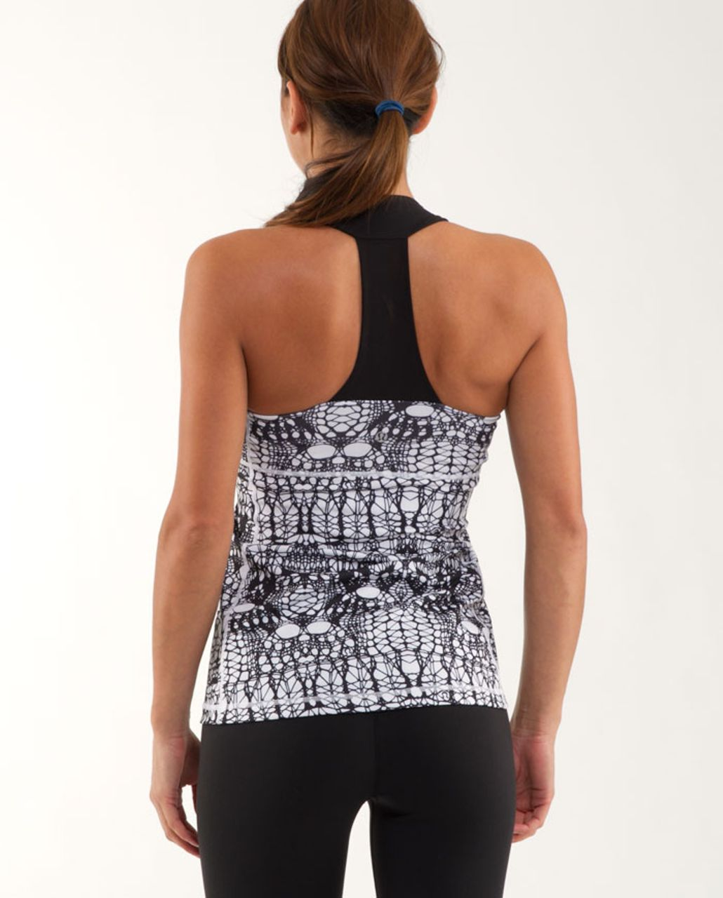 Lululemon Scoop Neck Tank - White Black Glacier Lace /  Black