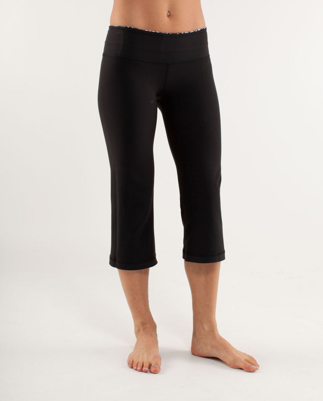 Lululemon Groove Crop - Black /  White Black Glacier Lace /  White Black Glacier Lace