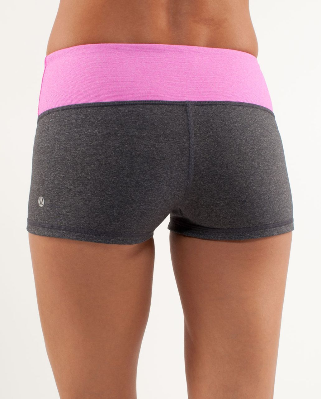 Lululemon Boogie Short - Heathered Coal /  Paris Pink White Microstripe /  Paris Pink