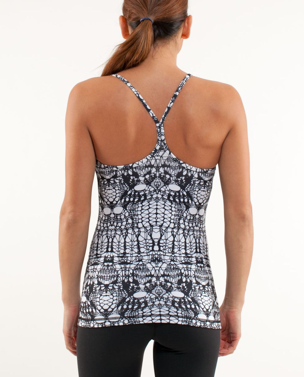 Lululemon Power Y Tank - White Black Glacier Lace
