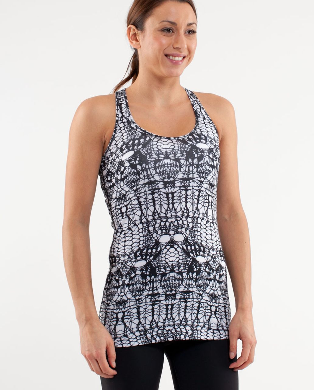 Lululemon Cool Racerback - White Black Glacier Lace