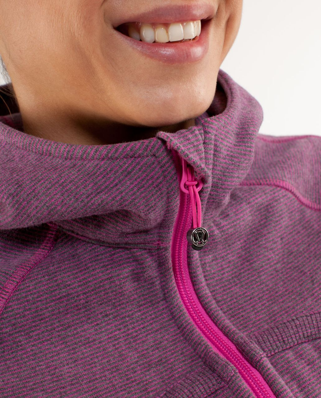 Lululemon Scuba Hoodie *Stripe - Heathered Blurred Grey Paris Pink Microstripe /  Paris Pink