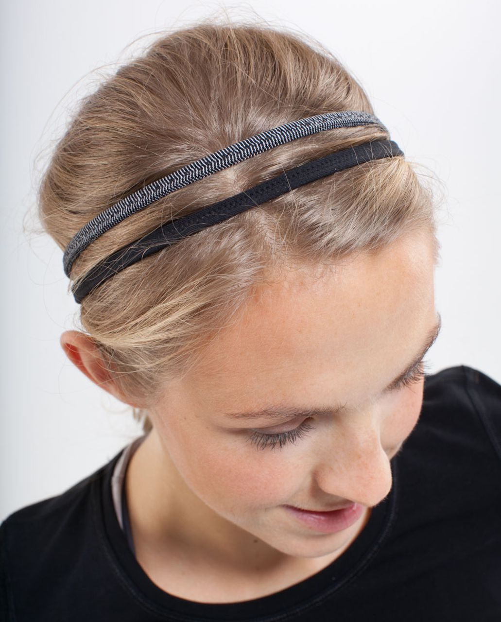 Lululemon DANCE! Headband - White Black Microstripe /  Black