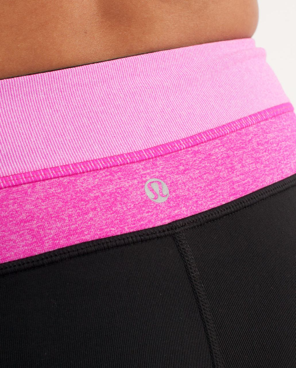Lululemon Groove Short - Black /  Paris Pink White Microstripe