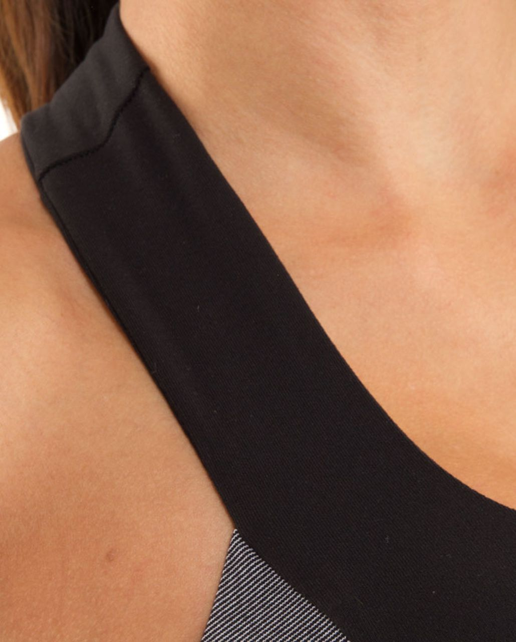 Lululemon Scoop Neck Tank - White Black Microstripe /  Black