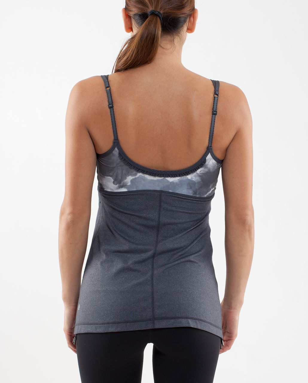 Lululemon Hot 'N Sweaty Tank - Coal /  White Silver Spoon Tinted Canvas Super