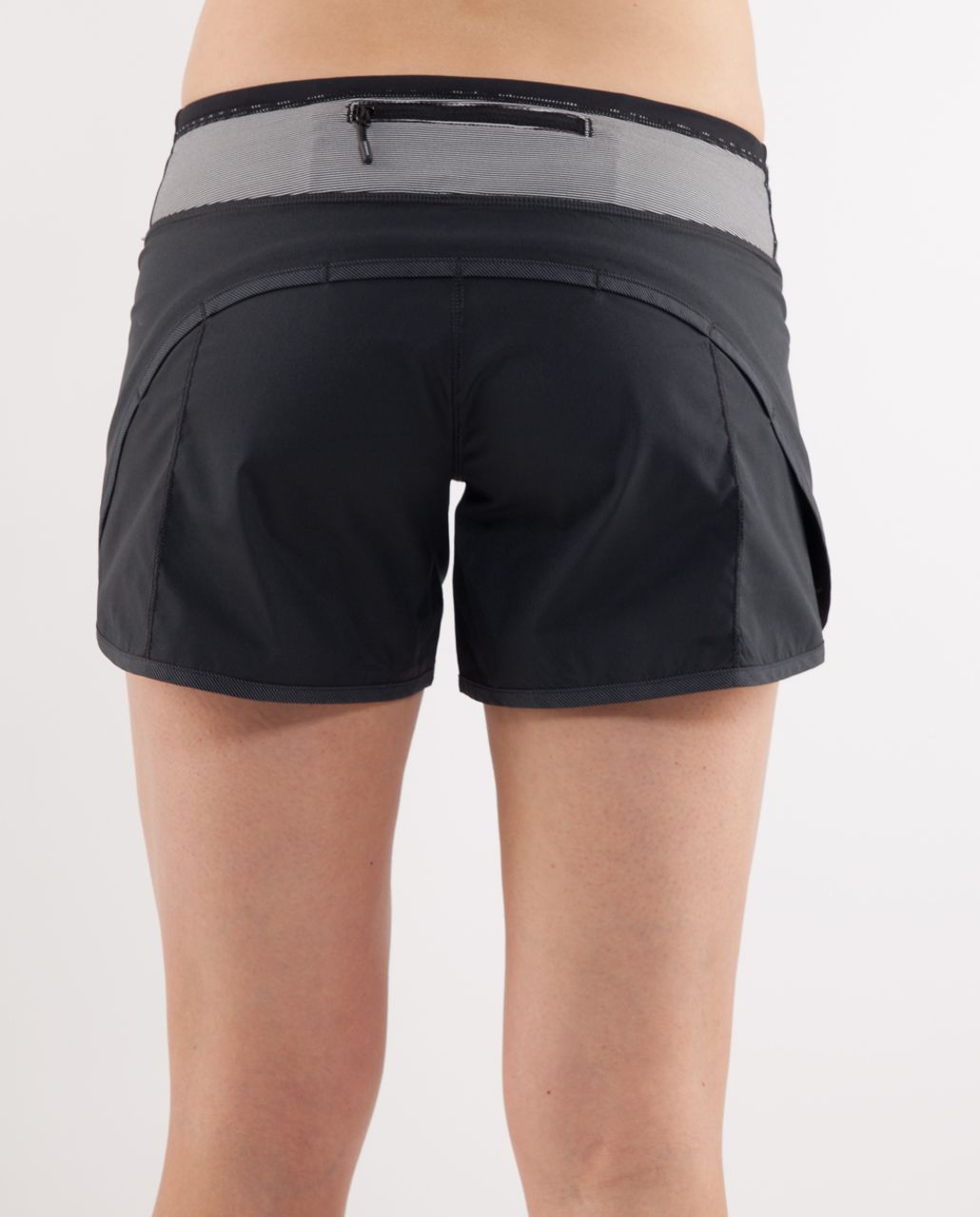 Lululemon Turbo Run Short - Black /  White Black Microstripe