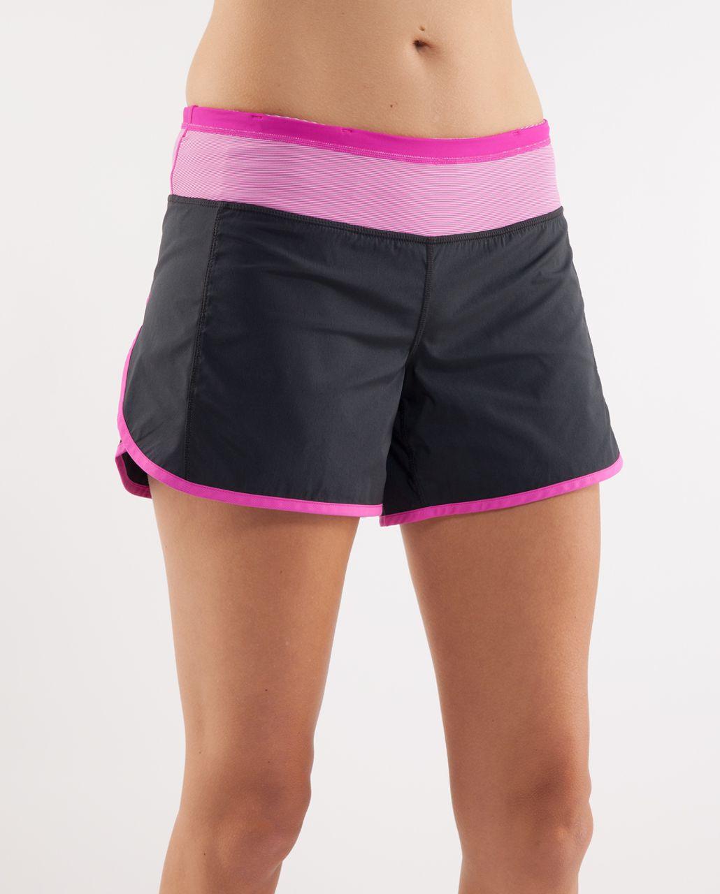 Lululemon Turbo Run Short - Black /  White Paris Pink Microstripe