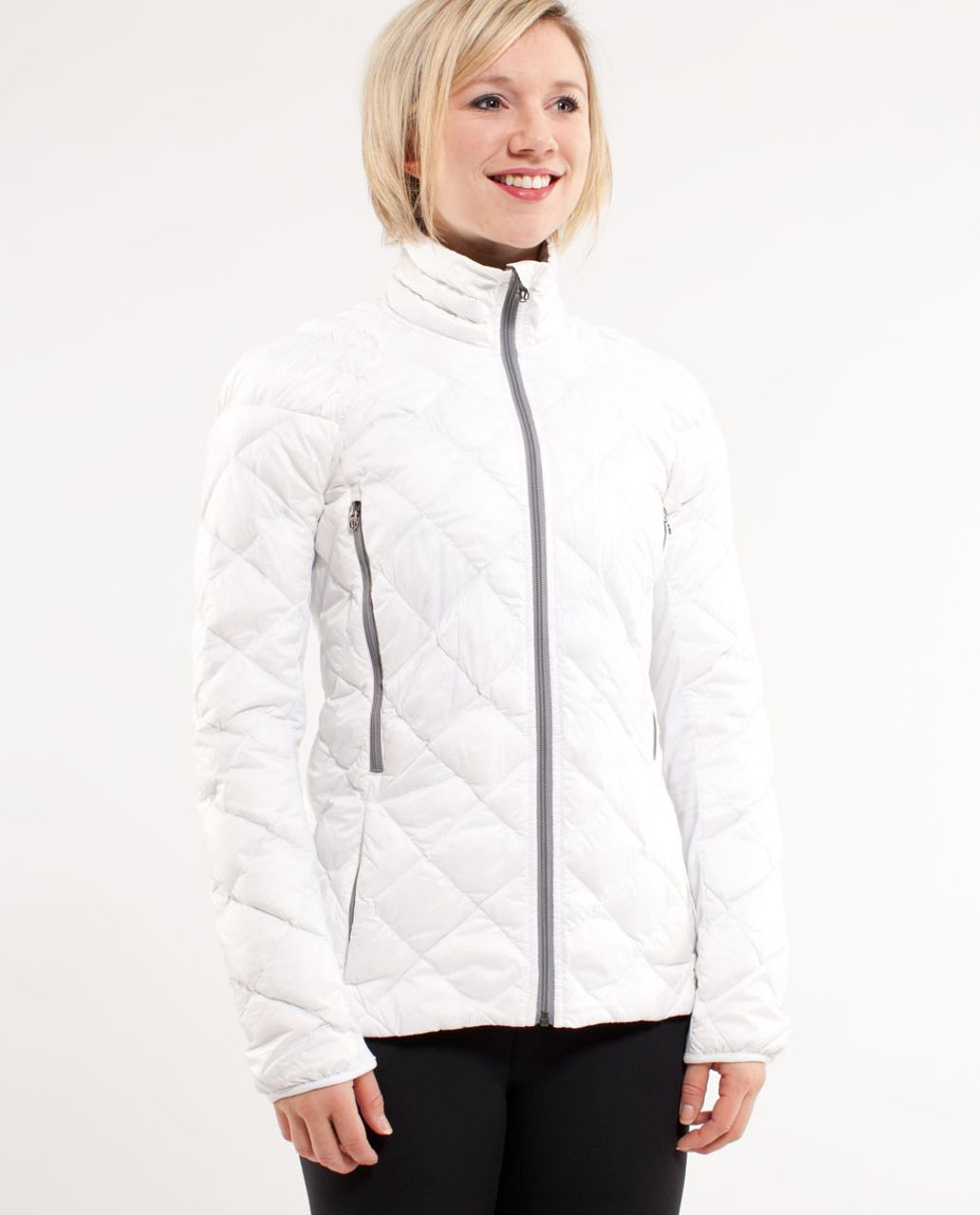 Lululemon Run:  Turn Around Jacket - White /  Grey Houndstooth