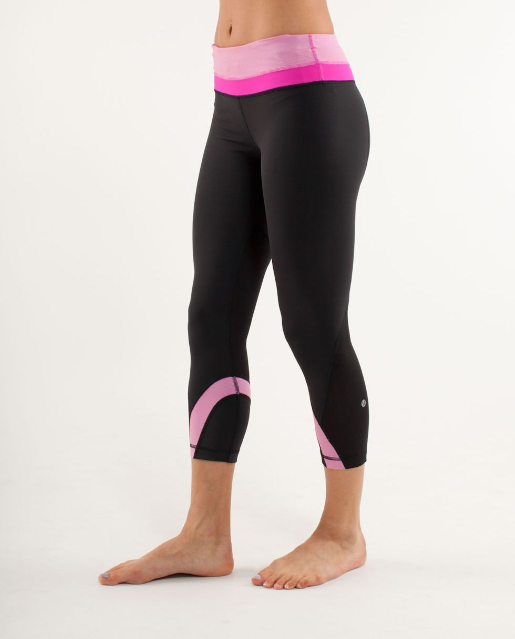 Lululemon Run:  Inspire Crop II - Black /  White Paris Pink Microstripe /  Paris Pink