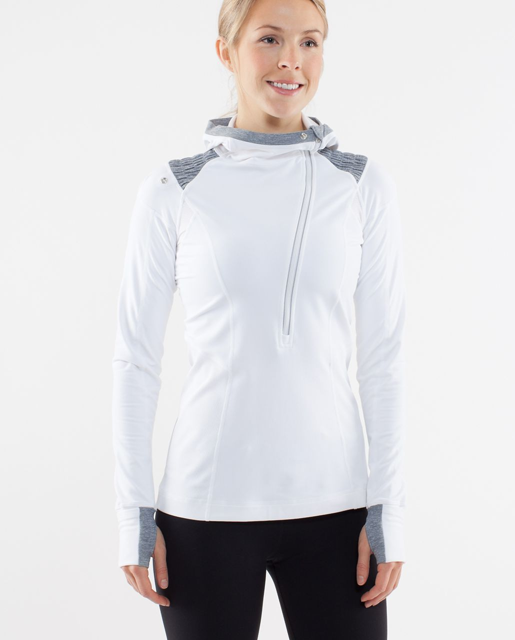 Lululemon Run:  For It Pullover - White /  Heathered Blurred Grey