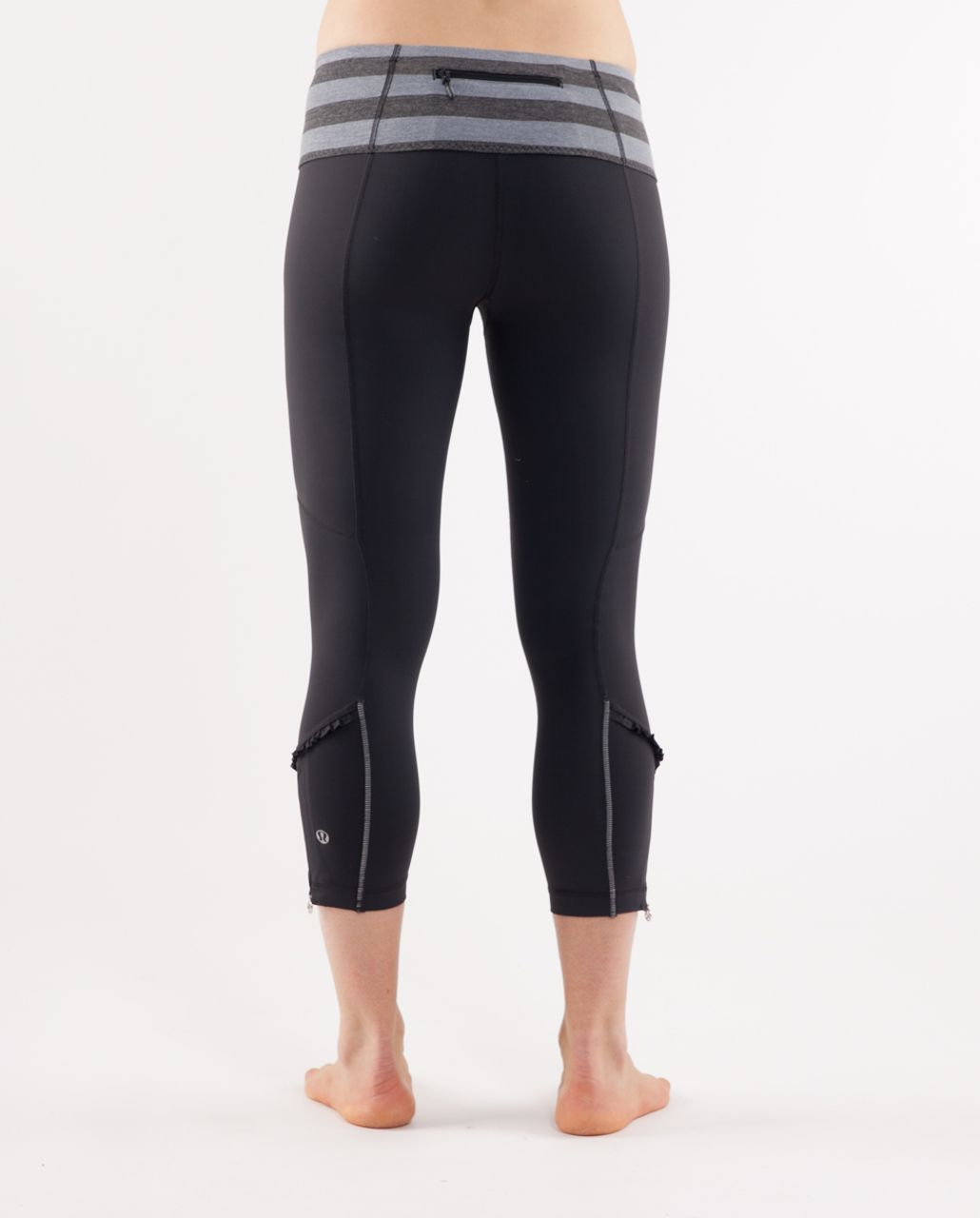 Lululemon Run:  Stay On Course Crop - Deep Coal /  Deep Coal Micro Macro Stripe