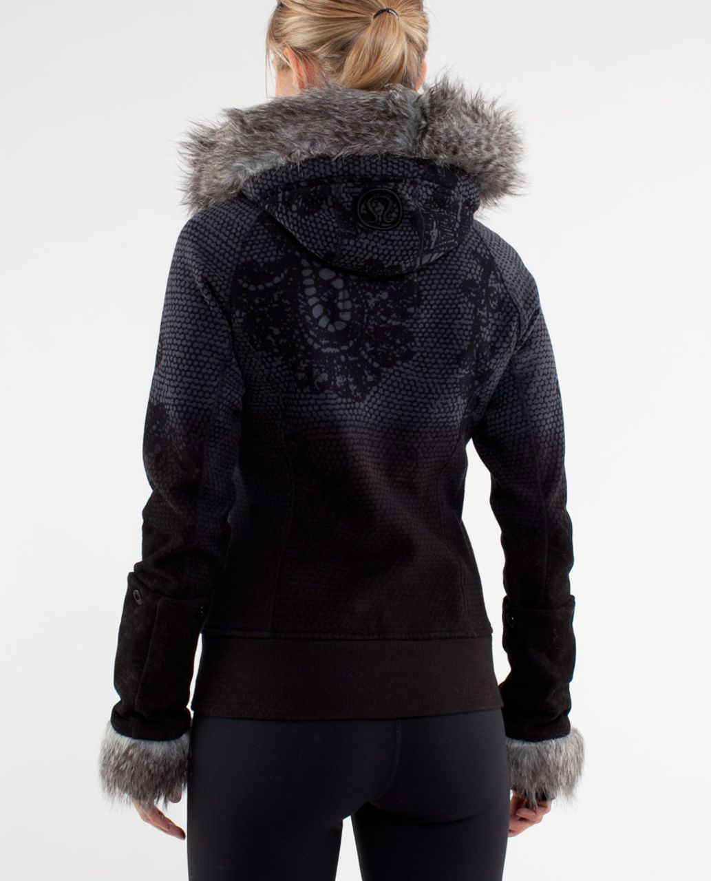 Lululemon Scuba Hoodie *Detachable Fur - Coal Black Orbit Lace Print
