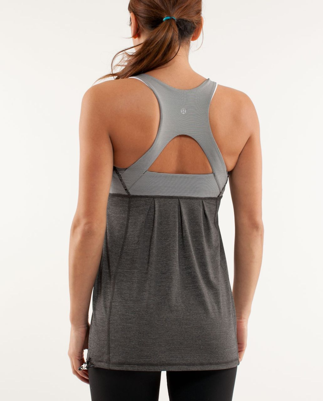 Lululemon Run:  Your Heart Out Tank - Heathered Black /  White Black Microstripe