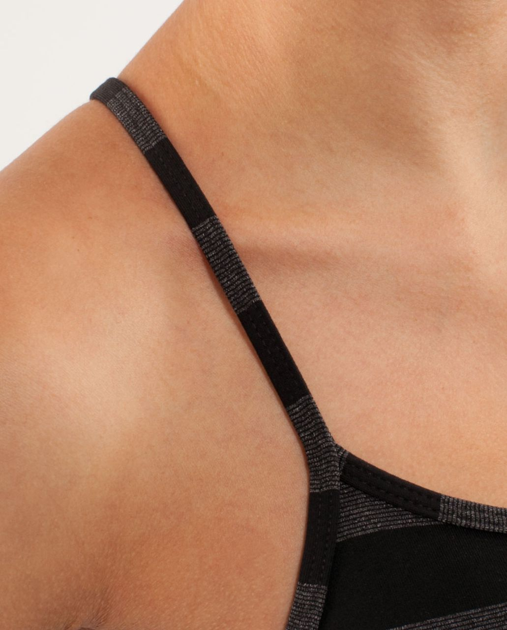 Lululemon Power Y Tank - Black Black Micro Macro Stripe