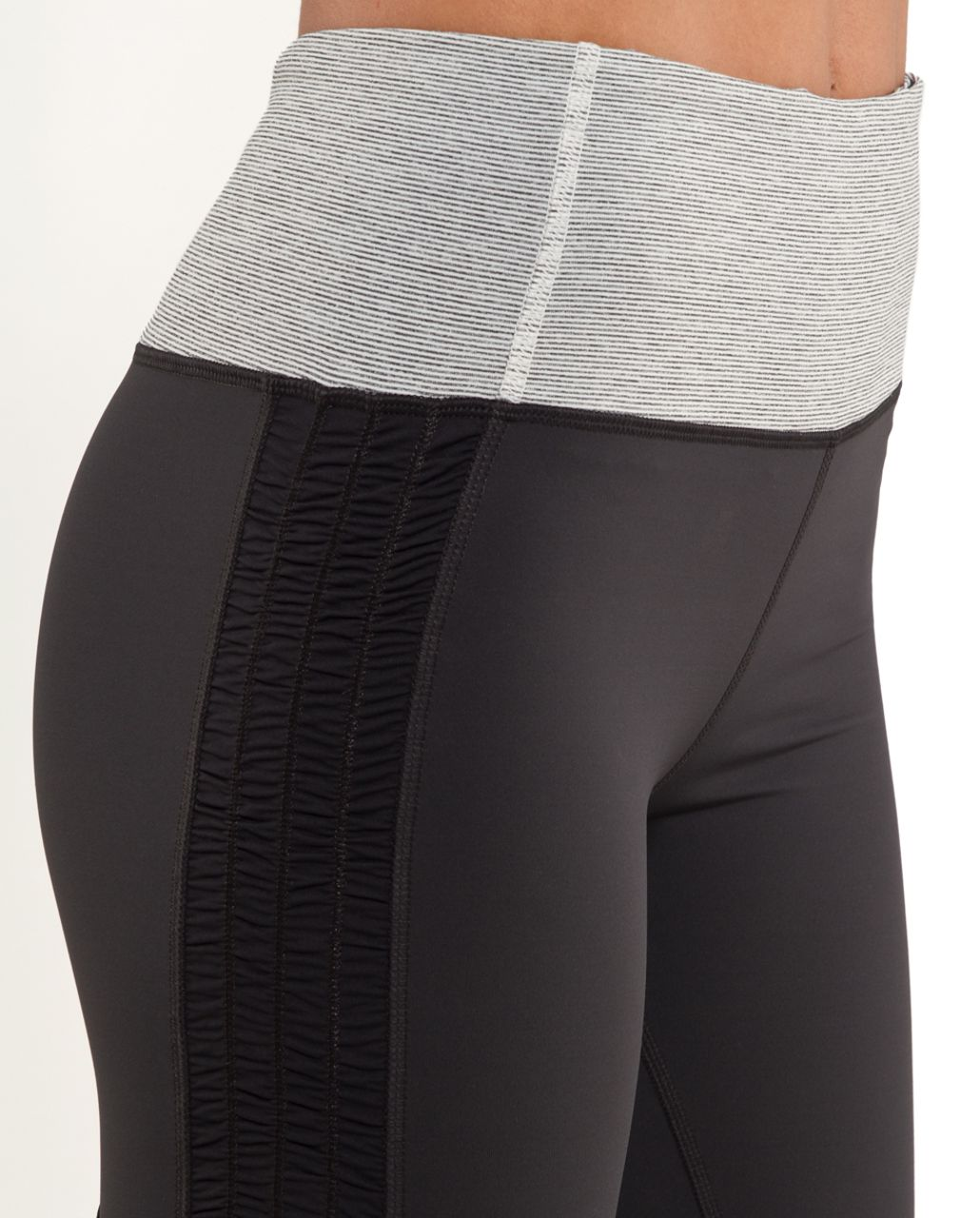 Lululemon Run:  Free Crop - Deep Coal /  Ghost Deep Coal Wee Stripe