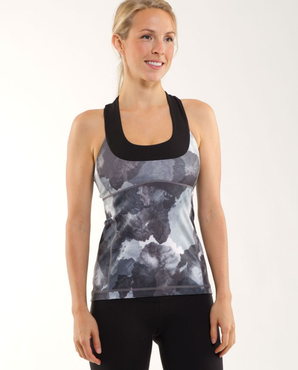 Lululemon Scoop Neck Tank - Black /  White Coal Tinted Canvas Super