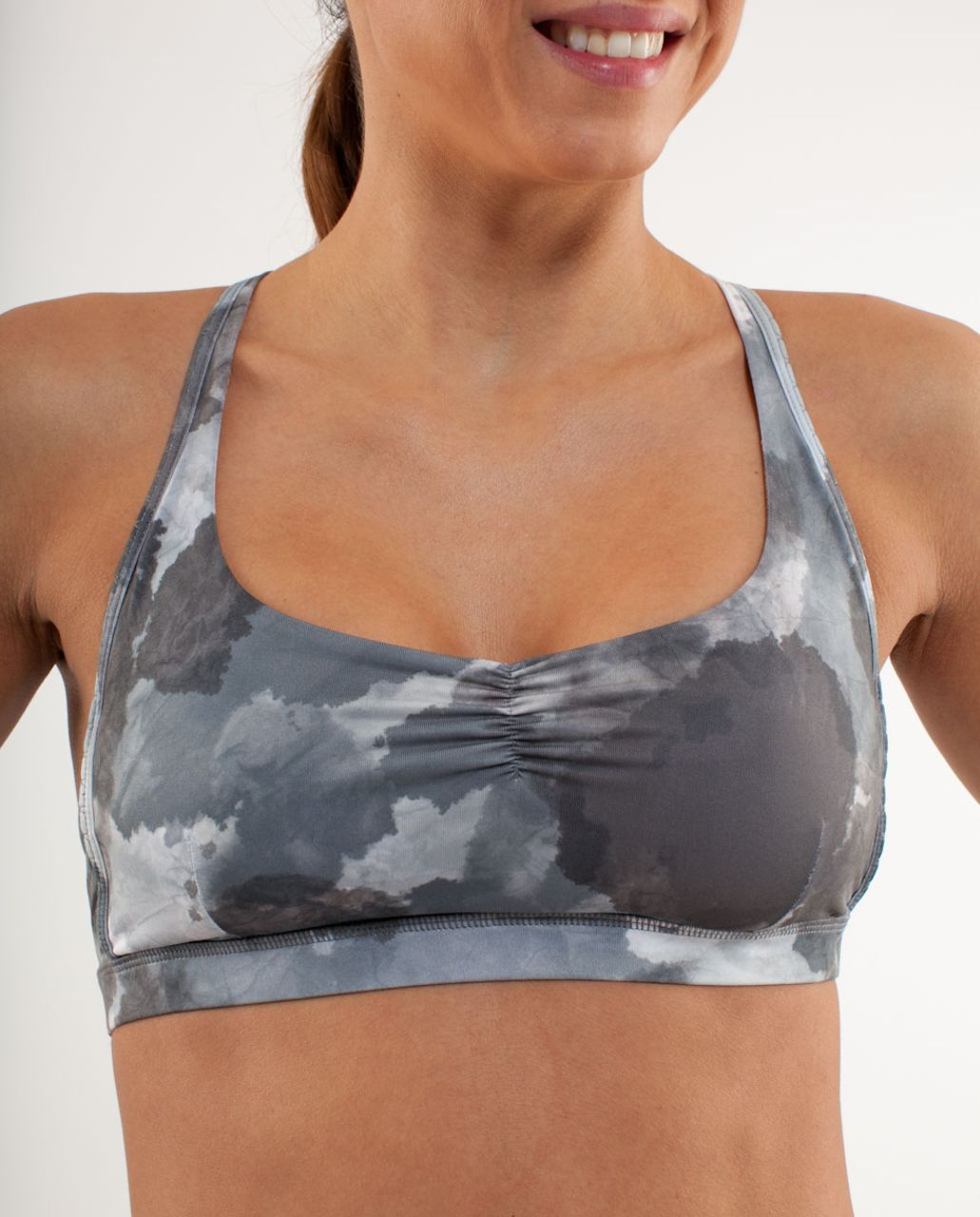 Lululemon Hot 'N Sweaty Bra - White Coal Tinted Canvas Super