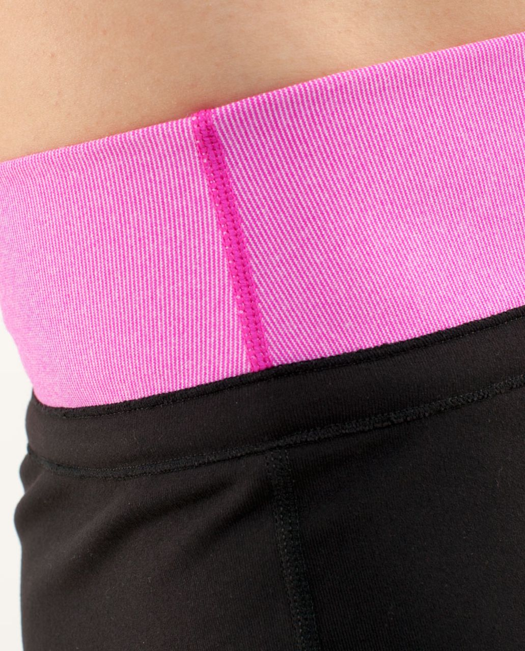 Lululemon Knock Out Short - Black /  Paris Pink White Microstripe
