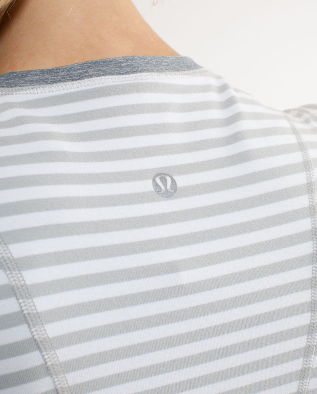 Lululemon Run:  Back On Track Long Sleeve Tech - Silver Spoon White Narrow Bold Multi Stripe /  Heathered Silver Spoon