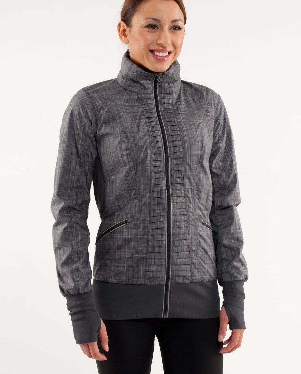 Lululemon Run:  Back On Track Jacket - Coal Pig Pink Shale Stripe /  Coal