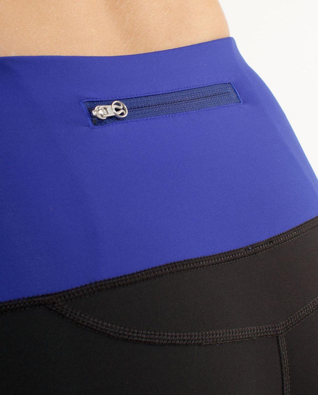 Lululemon Run:  Back on Track Tight - Black /  Pigment Blue /  Pigment Blue White Microstripe