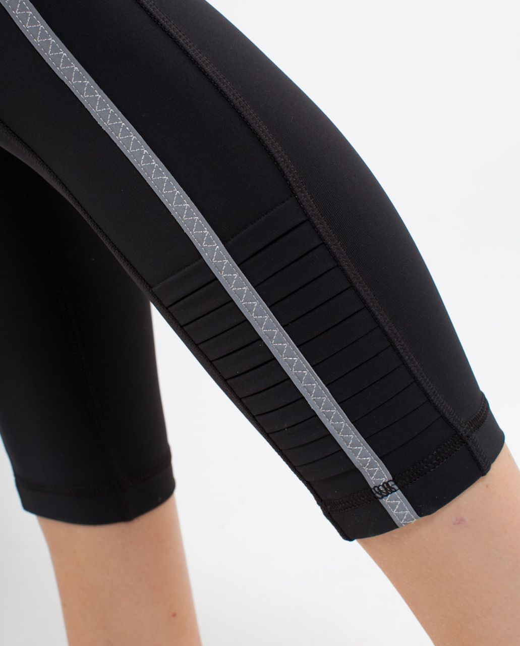 Lululemon Run:  Back On Track Crop - Deep Coal /  Silver Spoon White Bold Stripe /  Silver Spoon