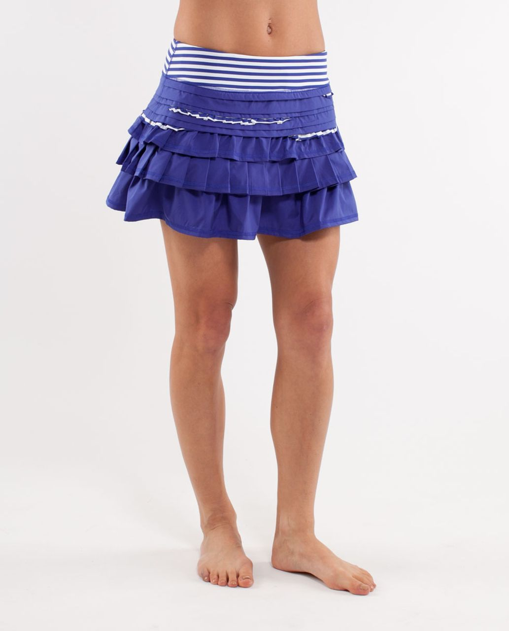 Lululemon Run:  Back On Track Skirt - Pigment Blue /  Pigment Blue White Narrow Bold Stripe