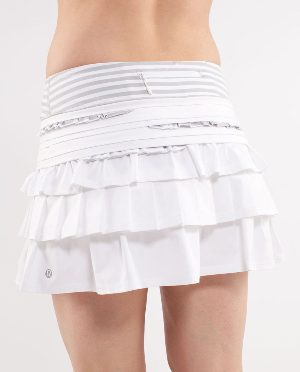Lululemon Run:  Back On Track Skirt - White /  Silver Spoon White Narrow Bold Multi Stripe
