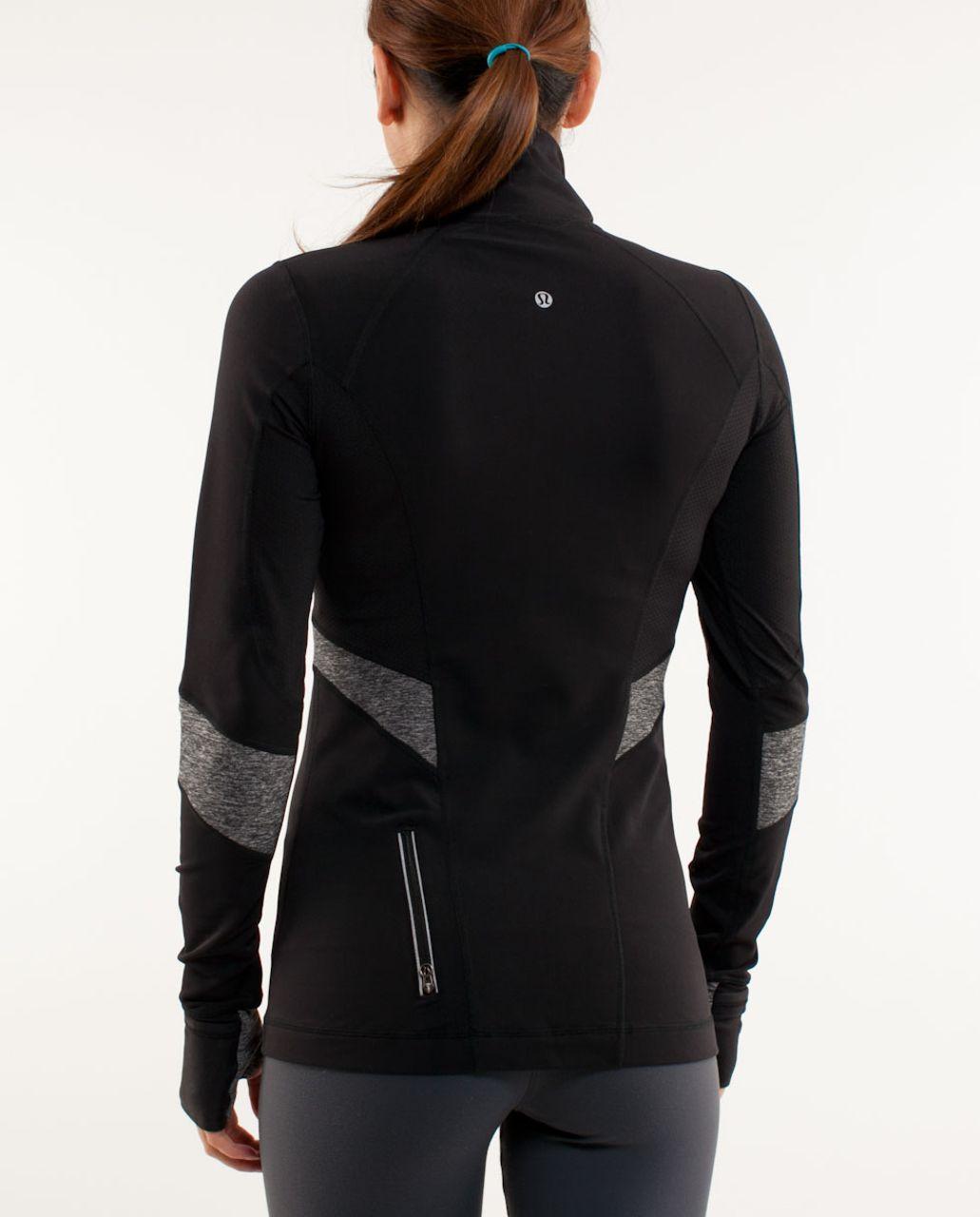 Lululemon Run:  Distance Pullover - Black /  Heathered Black
