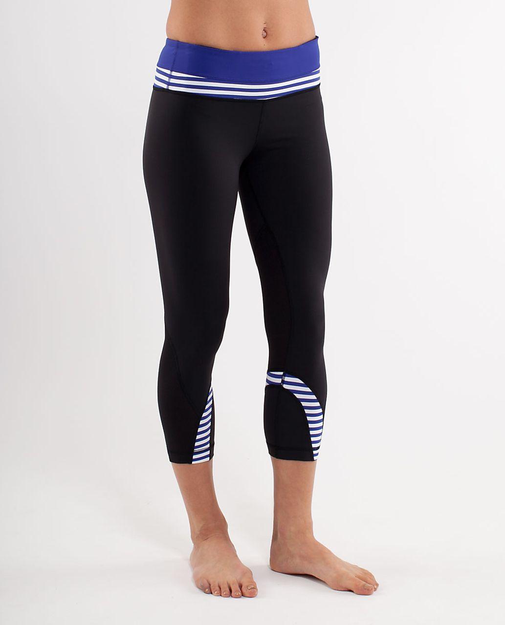 Lululemon Run:  Inspire Crop II - Black /  Pigment Blue White Narrow Bold Stripe /  Heathered Pigment Blue