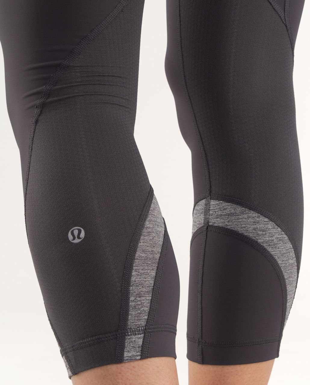 Lululemon Run:  Inspire Crop II - Coal /  Heathered Coal /  Lilac Heathered Coal Wee Stripe