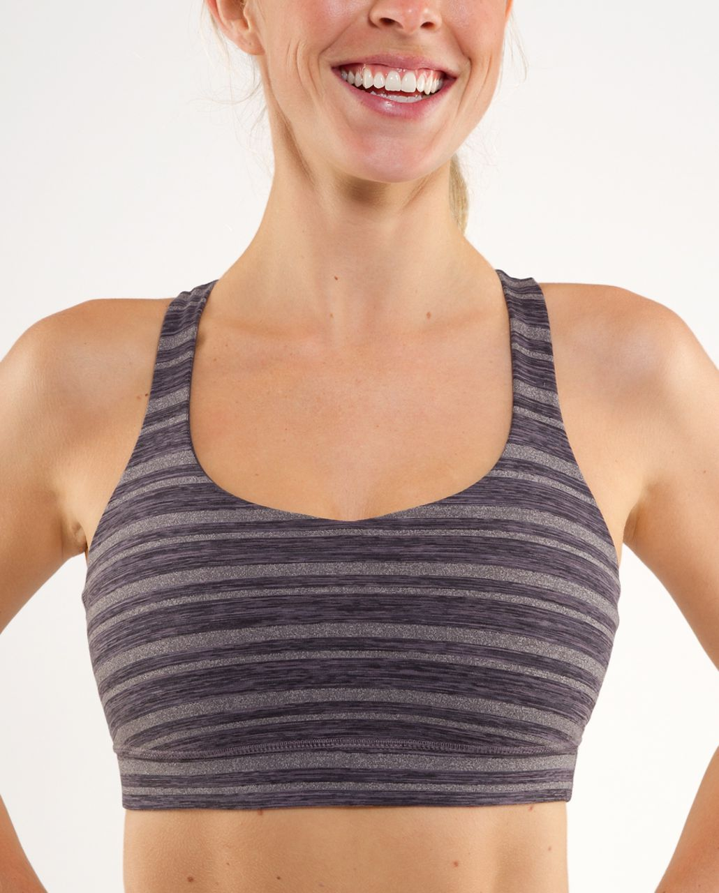 Lululemon 50 Rep Bra - Black Stripes Galore /  Coal