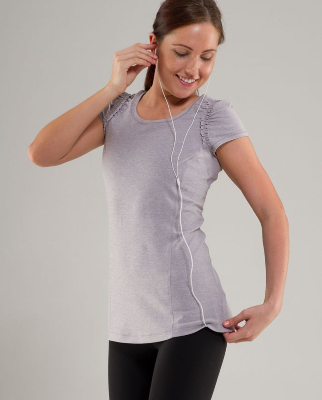 Lululemon Run:  Full Tilt Short Sleeve - Heathered Lavender Grey /  Lavender Grey
