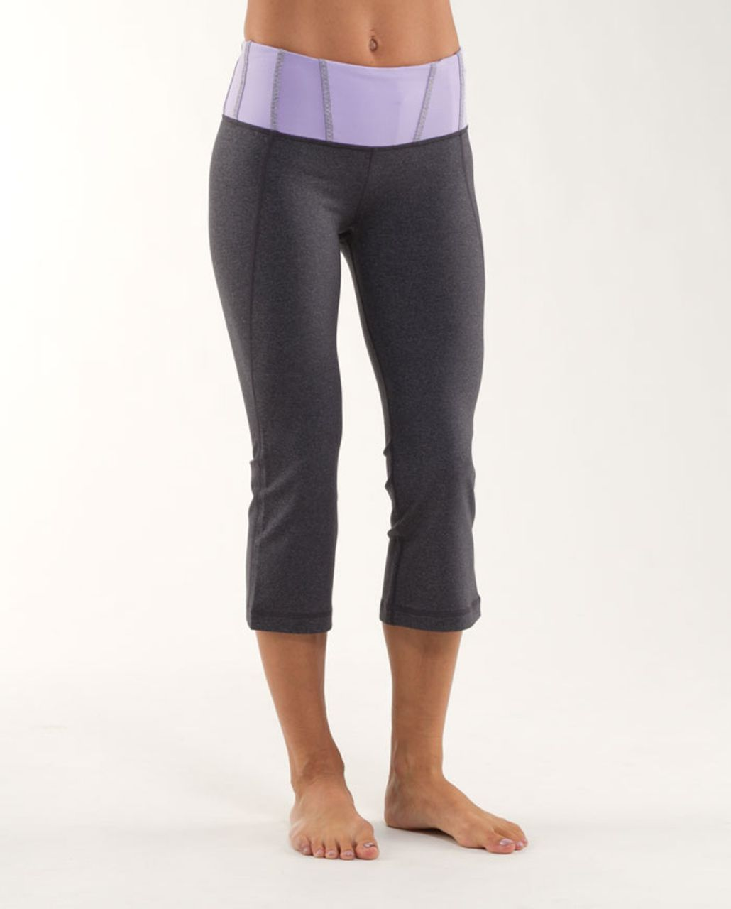 Lululemon Tadasana Slit Crop - Heathered Coal /  Lilac