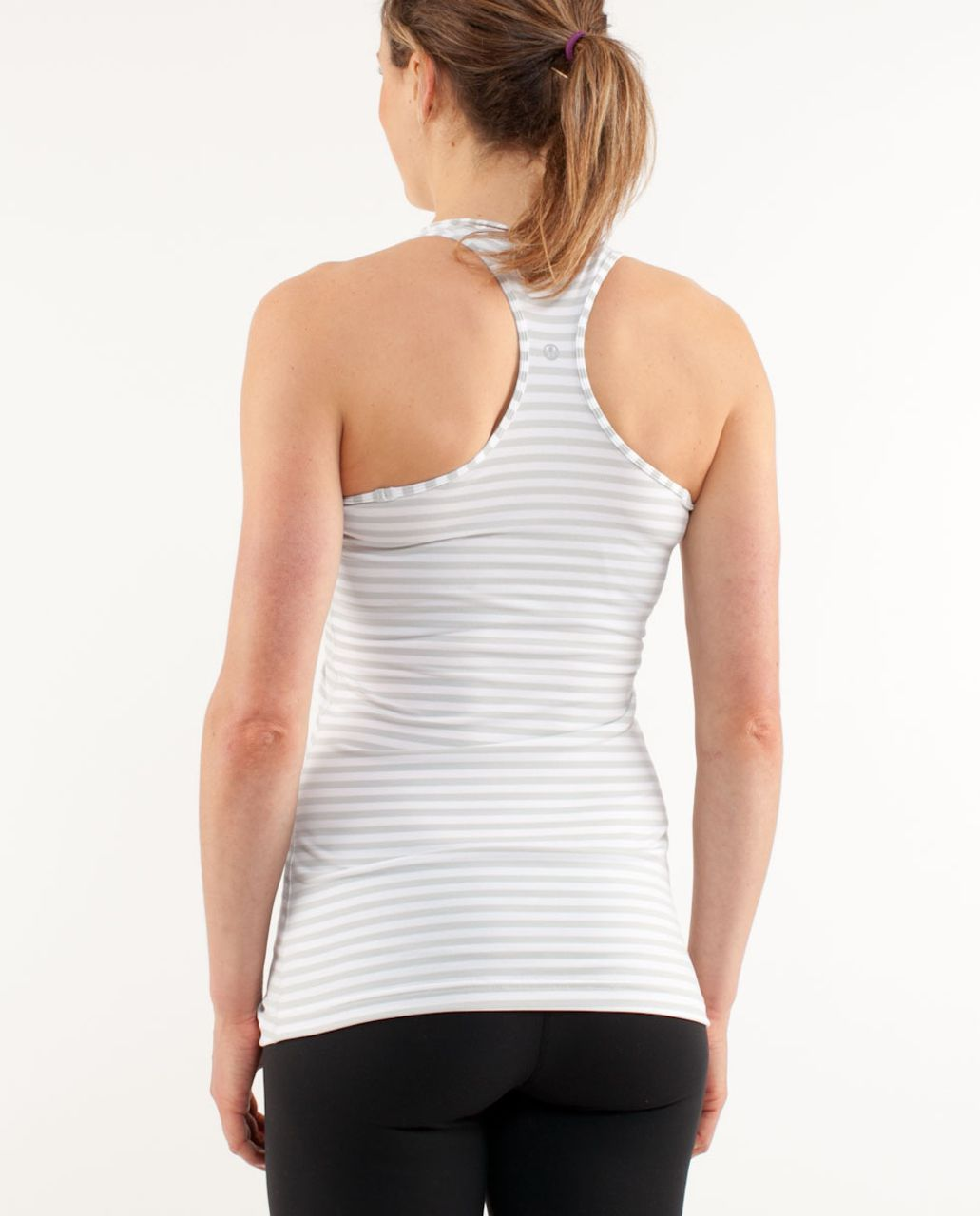Lululemon Cool Racerback - Silver Spoon White Narrow Bold Multi Stripe