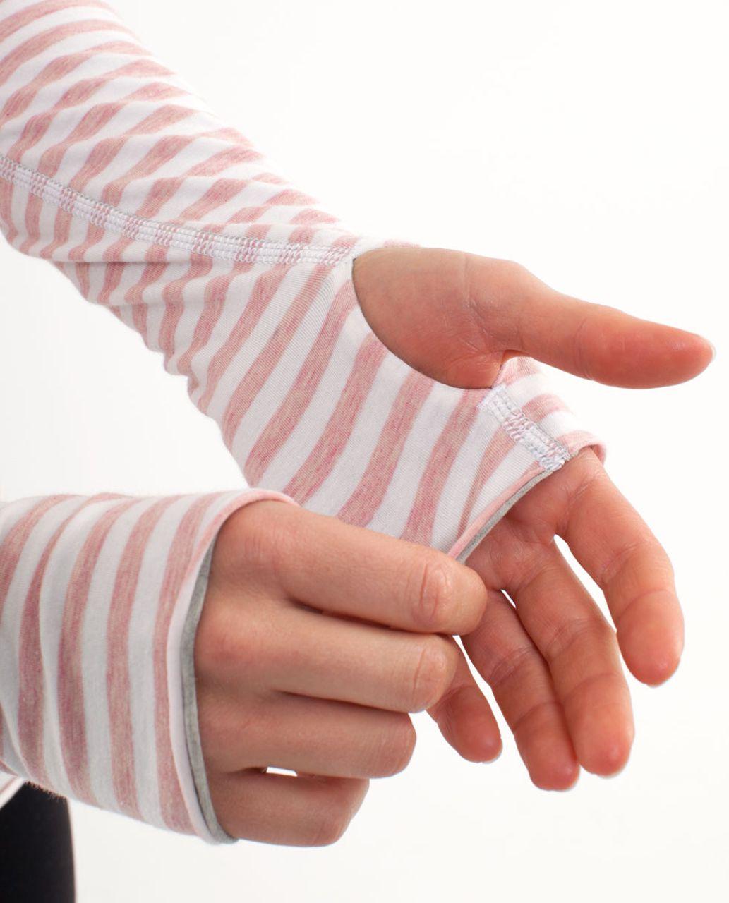 Lululemon Cabin Long Sleeve Tee II - Heathered Pig Pink White Narrow Bold Multi Stripe /  Heathered Silver Spoon