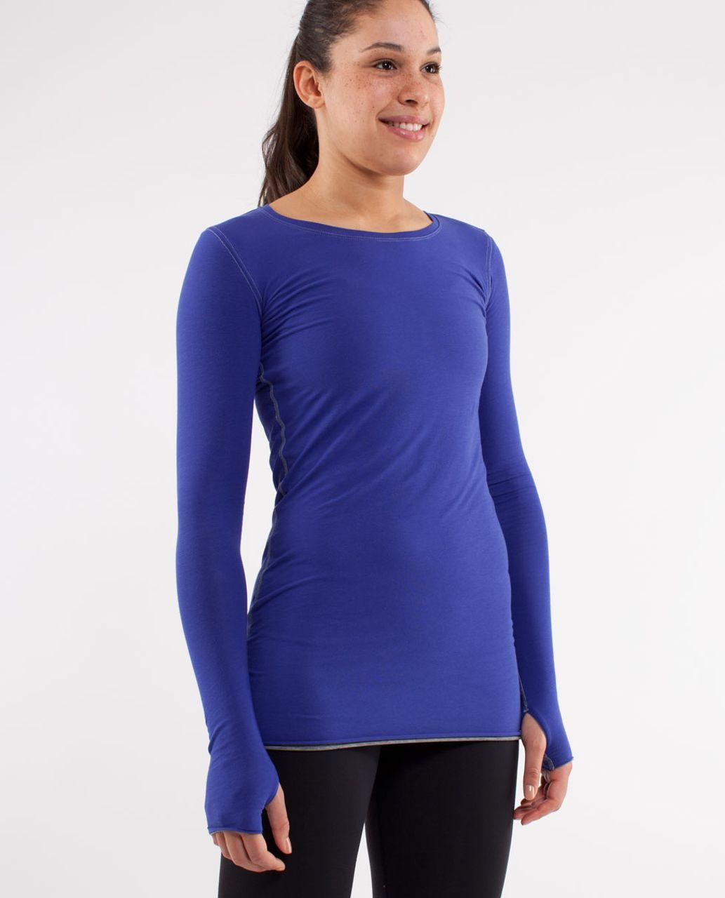 Lululemon Cabin Long Sleeve Tee II - Pigment Blue /  Heathered Blurred Grey