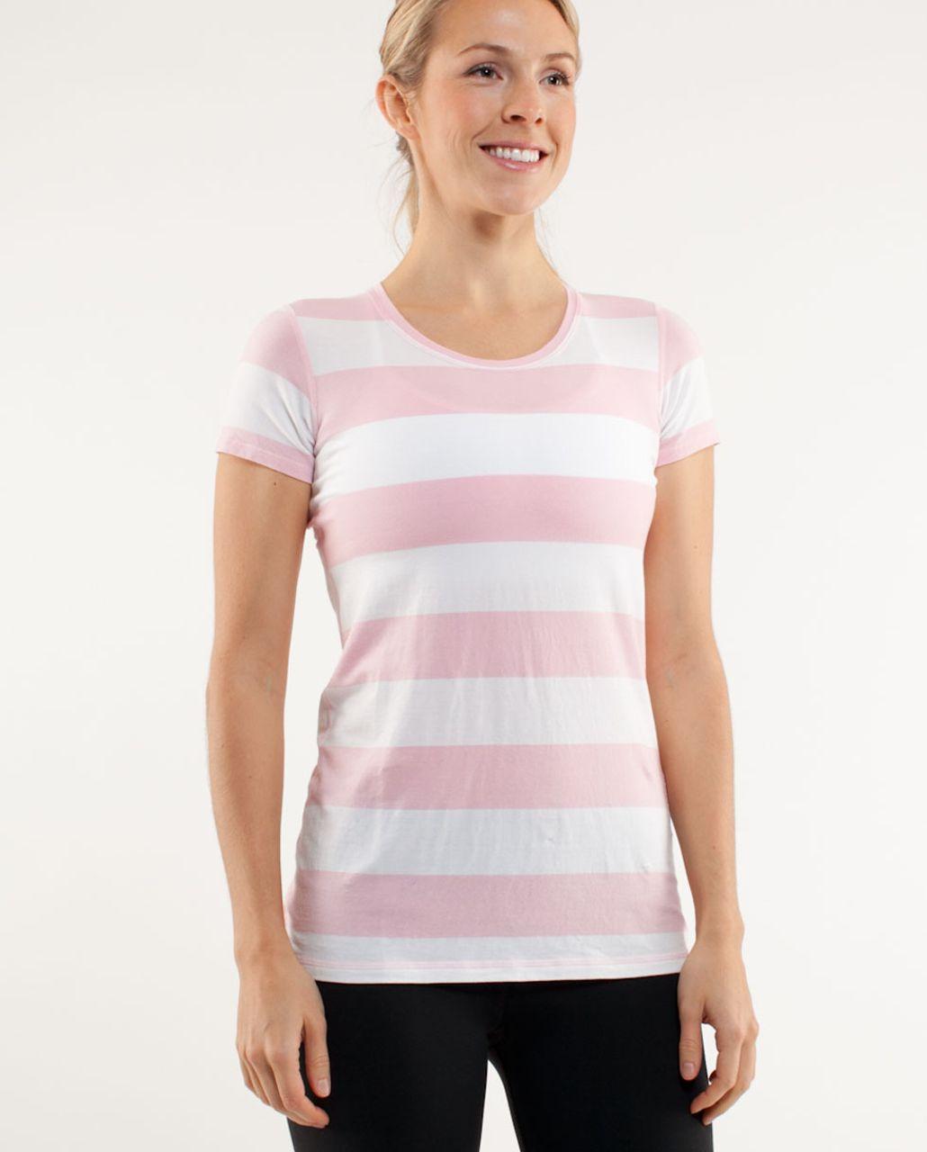 Lululemon Lively Crewneck Tee *Vitasea - Heathered Pig Pink White Wide Bold Multi Stripe