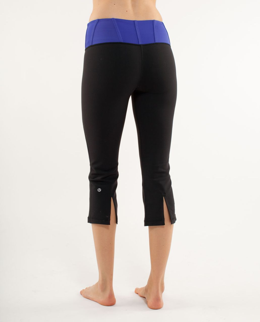 Lululemon Tadasana Slit Crop - Black /  Pigment Blue