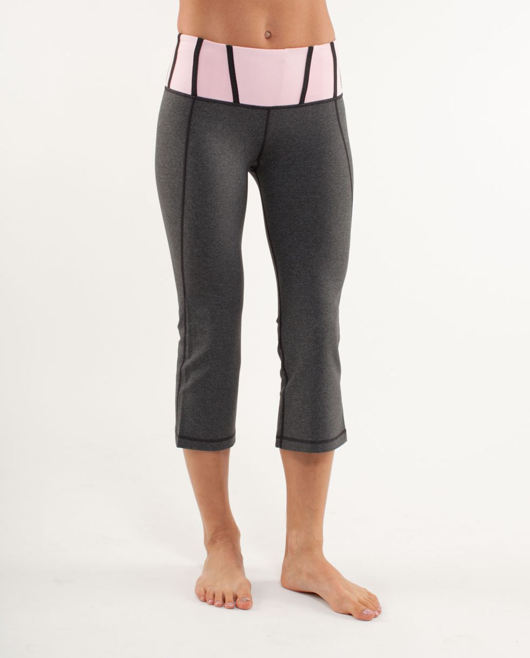 Lululemon Tadasana Slit Crop - Heathered Deep Coal /  Pig Pink